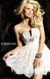 dress,ivory,pearl,lace,white,vintage,cute,prom dress,wonderfull,amazing,beige,jewelry,silver,homecoming,homecoming dress,nude,nude dress,sheri hill,short prom dress,white cream,lace dress,strapless dress,jewels