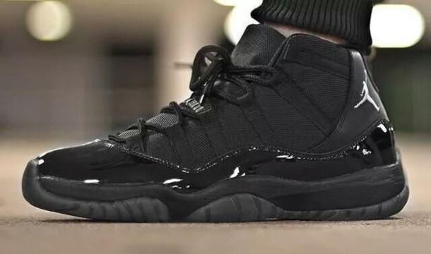 Shoes: jordan black, air jordan 11, jordans, black, nike ...