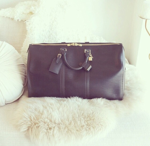 bag black cuir doré cuir noir sac