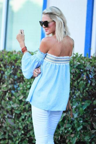 belle de couture blogger top jeans shoes cat eye black sunglasses sunglasses blue off shoulder top off the shoulder off the shoulder top long sleeves bracelets white jeans