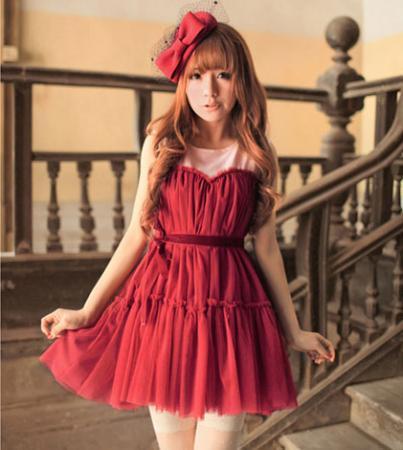 New korea womens tulle sweet mini dress 3 color d9361