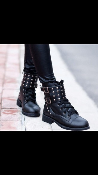 shoes studded shoes boots black boots combat boots