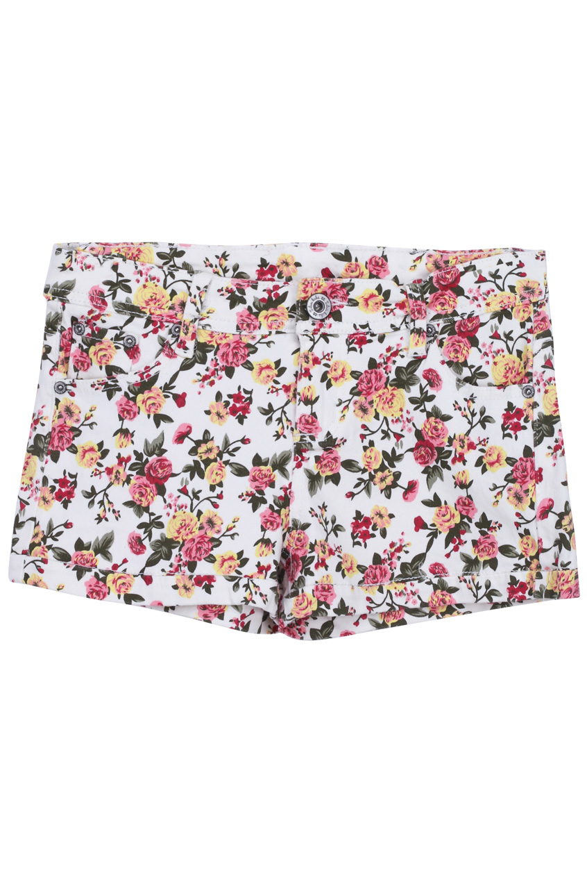"""rose & leaves"" white shorts, the latest street fashion"