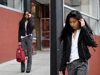 blogger pants kristenglam red bag flare grey leather jacket white shirt