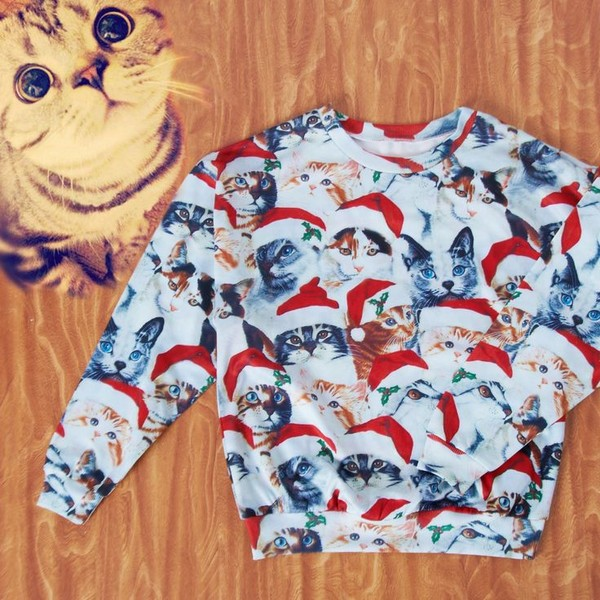 shirt romwe sweatshirt print christmas cats t-shirt x-mas x'mas sweater snow winter sweater