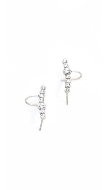 Luv Aj The Pave Curved Earrings Set - Clear/Silver