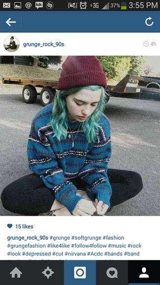 hat wool hipster sweater maroon beanie blue stripes grunge