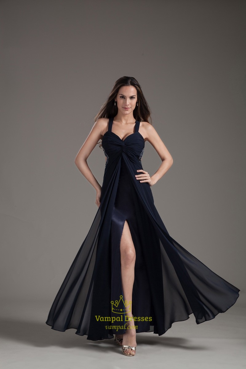 Graceful Spaghetti Straps Navy Blue X-Back Maxi Dresses 2013 | Vampal Dresses