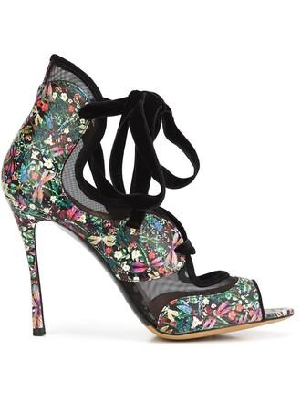 women sandals lace leather black shoes