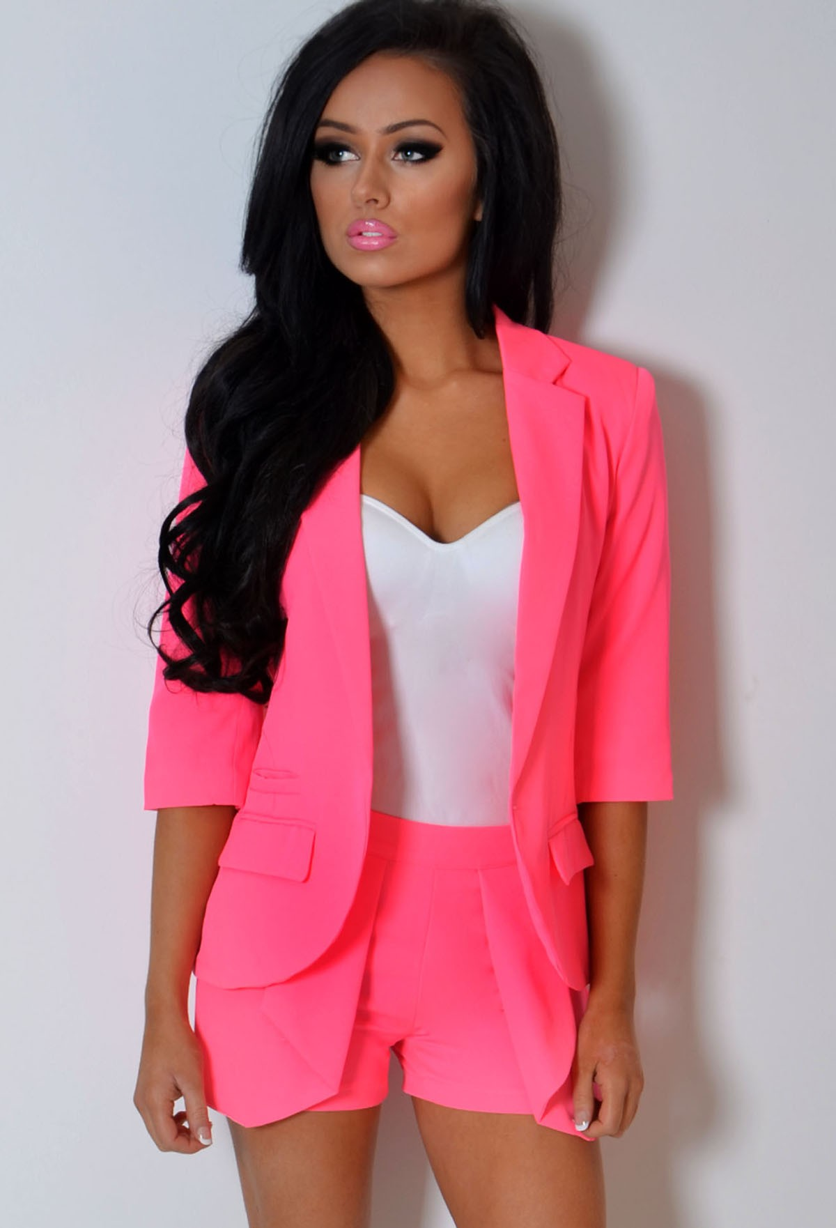 Neon Pink 3/4 Sleeve Fitted Blazer Jacket | Pink Boutique