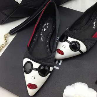 shoes face toe shoes flats black and white fashion