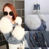 coat,i4out,jacket,swag,girly,fashion,clothes,sweater,blazer,denim jacket,sunglasses,faux fur jacket