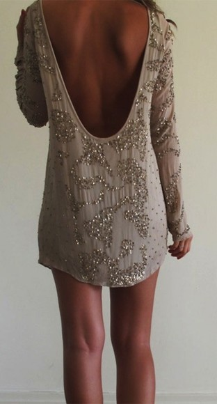 dress taupe tan sequin the great gatsby low back gold long sleeve blouse