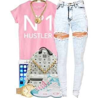 shirt hustler acid wash jeans high waisted jeans ripped jeans distressed high waisted jeans distressed denim high waisted acid wash jeans pink pink shirt mcm backpack iphone cover pink and blue nike jordans gold gold chain jewelry white tumblr shirt dope urban lovable back to school school bag school outfit watch micheal kors watch gold number