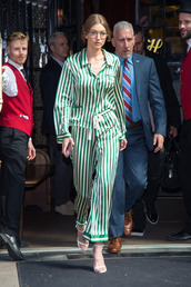 pants,stripes,gigi hadid,blouse,pajamas,model off-duty,spring outfits,shirt,top