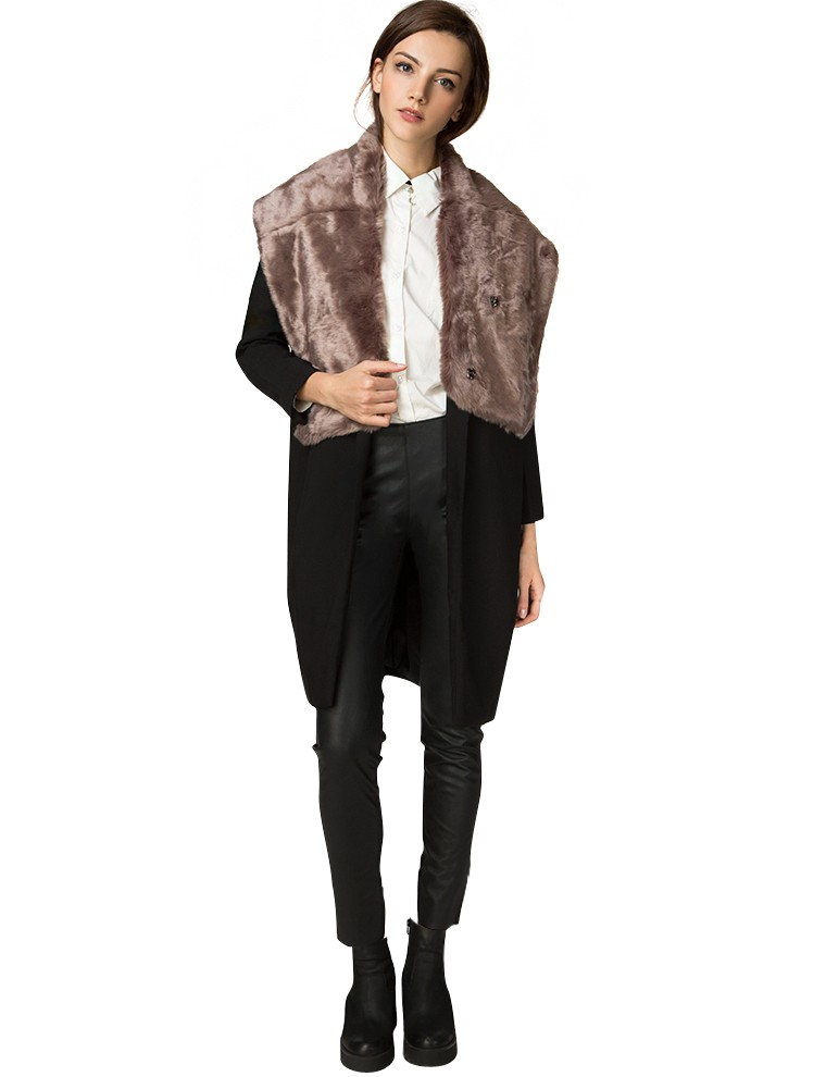Mocha Faux Fur Shawl - Cute Fall Pink Fur Collar Throw - $54