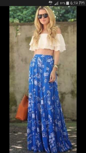 top white crop tops flowly skirt