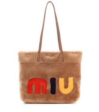fur suede brown bag