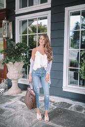 southern curls and pearls,blogger,tank top,cardigan,jeans,jewels,bag,louis vuitton,camisole,mules