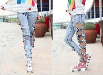 jeans print all star bows acid wash creative bow pants denim cut-out blu noeud love blue somewhere else bow jeans bows jeans clothes holes tight grey guess maong girly bowknot cut out jeans belt