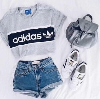 shirt adidas t-shirt top addidas shirt grey t-shirt denim shorts adidas top crop tops shorts high waisted shorts high waisted outfit tumblr summer tumblr oufit adidas shoes backpack grey shirt blouse