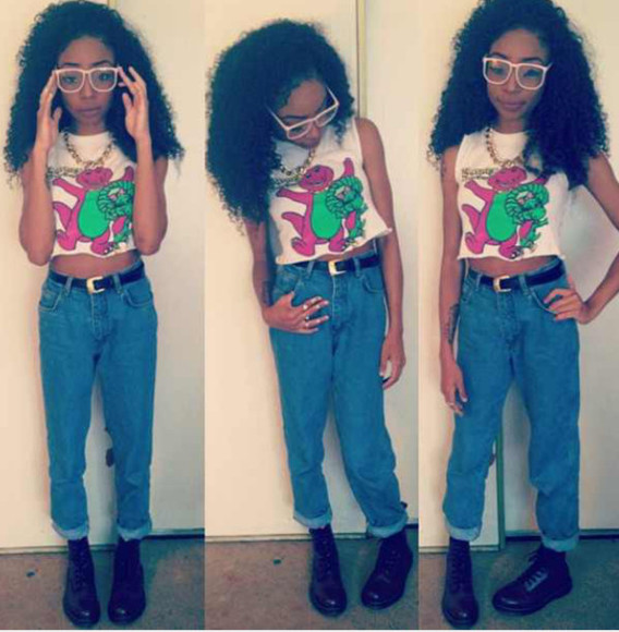 glasses shirt high waisted jeans belt muscle tee
