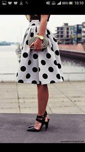 dress,skirt,polka dots,black,white,spots,black spots,white skirt,black skirt,midi,midi skirt,high waisted,high waist skirt