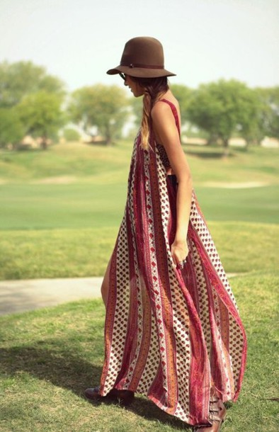 dress maroo/burgundy boho maxi