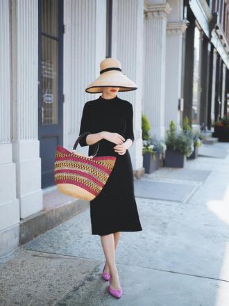 dress hat tumblr black dress midi dress sun hat bag flats feminine shoes