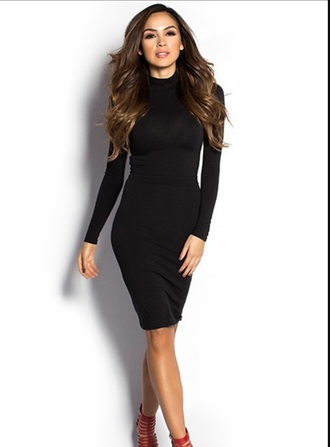 dress black dress turtleneck style fashion trendy sexy dress