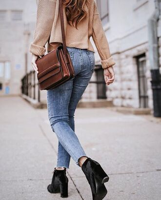 shoes tumblr boots ankle boots high heels boots black boots velvet velvet boots velvet shoes denim jeans blue jeans skinny jeans bag brown bag sweater beige sweater
