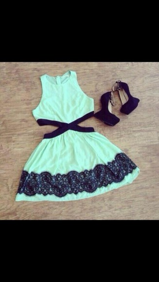 dress cut out dress mint green dress lace dress lace
