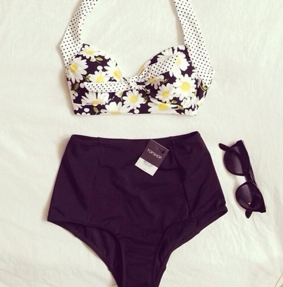 swimwear high waisted bikini black summer floral cute floral top black bottom