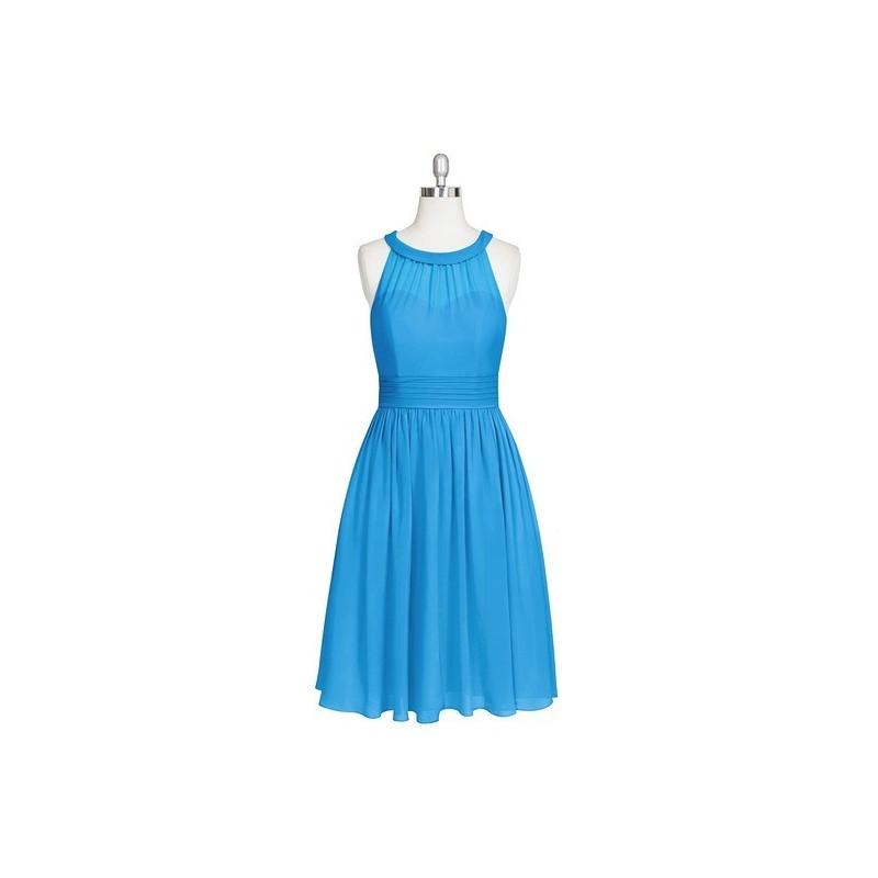 Ocean_blue Azazie Taylor - Chiffon Knee Length Back Zip Scoop - Simple Bridesmaid Dresses & Easy Wedding Dresses