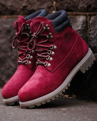 shoes timberland boots leather burgundy
