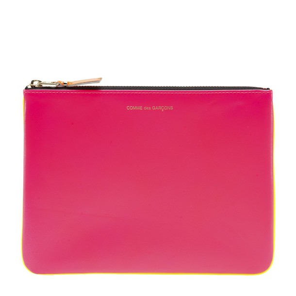 Comme des garcons fluo new clutch pink yellow bag