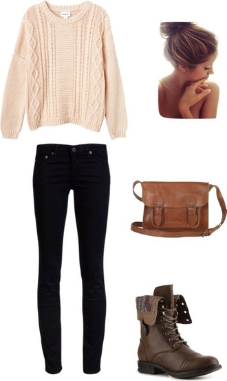 bag lether bag brown bag nail polish sweater