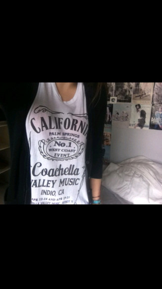 tank top white coachella top california paln springsteen valley music jack daniels print jack daniel's t shirt haut black longshoreman docker