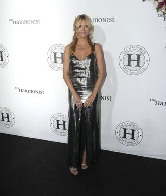 dress silver metallic gown prom dress heidi klum sandals cannes long prom dress maxi dress