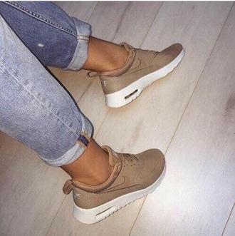 sneakers shoes nike beige low top sneakers nike sneakers nike air max thea nike shoes