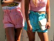 mini shorts,denim shorts,pink shorts,blue shorts,shorts,t-shirt