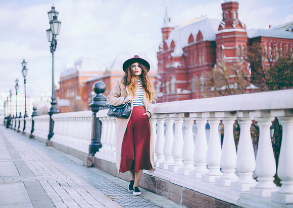 midi skirt stripes she wears fashion blogger top fall outfits