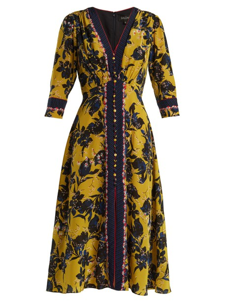 Saloni dress silk print yellow