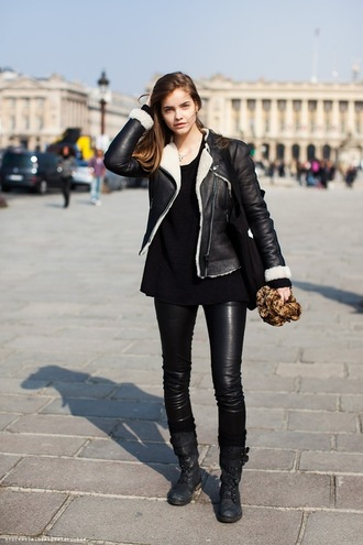jacket leather barbara palvin model brown hair blue eyes shirt shoes