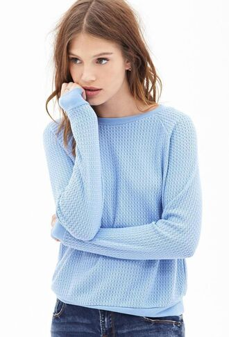 sweater blue light blue sky blue popcorn knit popcorn sweater periwinkle knitted sweater forever 21