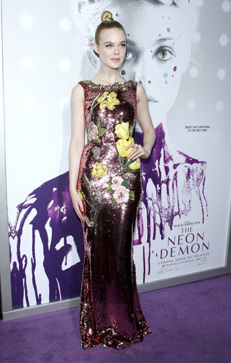 dress sequins sequin dress gown prom dress elle fanning long prom dress floral purple