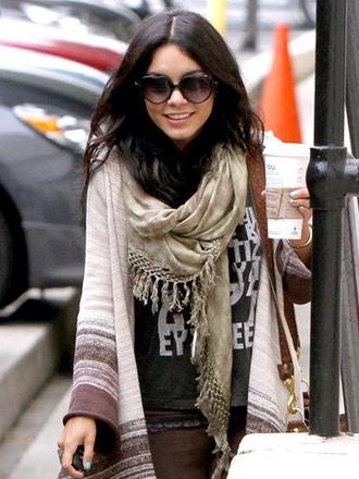shirt vanessa hudgens cream scarf cardigan