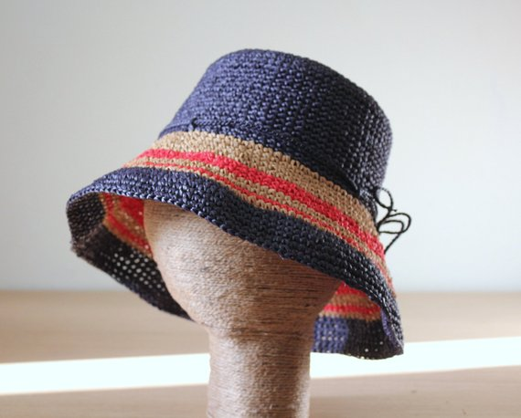 Womens raffia straw bucket sun hat, Nautical style hat, Vacation holiday hat, Packable adjustable sun hat, 4th of July outfit