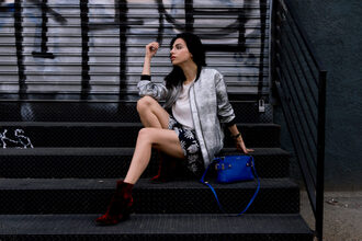 kris chérie blogger jacket shorts shoes red boots boots blue bag bomber jacket mini skirt spring outfits