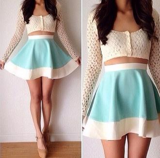 skirt pastel t-shirt pale petite